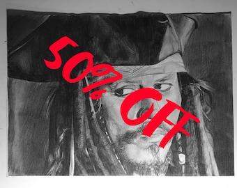 Captain Jack Sparrow A3 Drawing