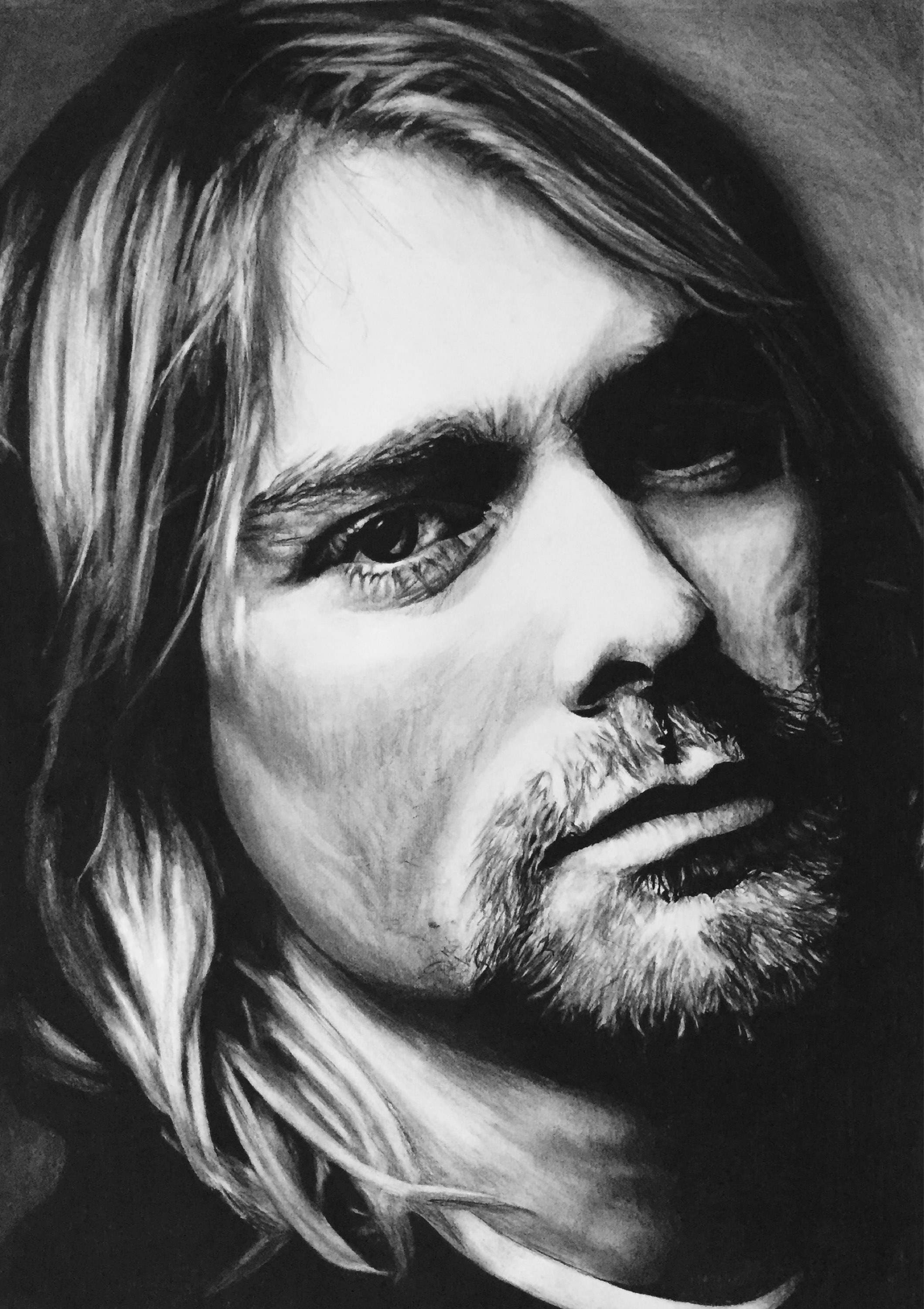 It is a picture of Candid Drawing Of Kurt Cobain