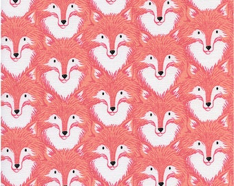Foxes Coral by Sarah Watts for Magic Forest Collection /  Cotton+Steel Fabrics