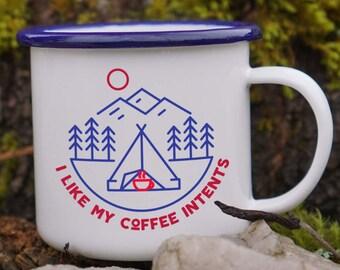 Comme ma tasse d'émail intentions café - tasse Camping drôle d'émail - jeu de mots une tasse de café