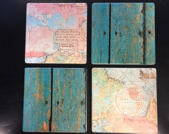 Map coasters Drink Coasters Set of 4