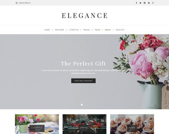 Elegance - WordPress Theme - WordPress Blog Theme - Feminine WordPress theme - Responsive WordPress theme - WordPress Template