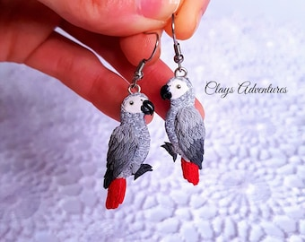 African grey parrot earrings, handmade, parrot figurine made of polymer clay HIGH QUALITY, like real !!!!