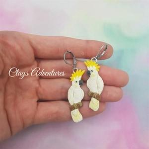 Yellow created cockatoo parrot bracelet  Sulphur crested cockatoo handmade fimo beaded bracelet