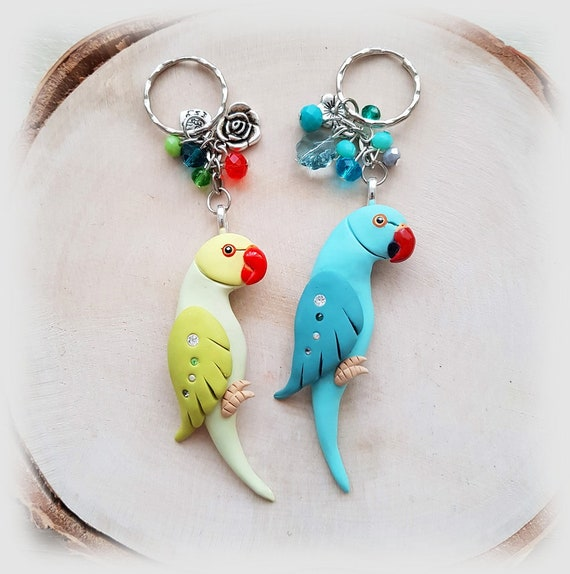 parrot figurine made of polymer clay HIGH QUALITY. Blue ringneck parrot keychain handmade