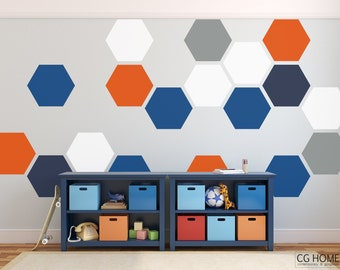 Honeycomb Wall Decals Hexagon Wall Stickers Kids Toddlers Room Hexagons Pattern Geometric Vinyl Wall Art Baby Room Decals
