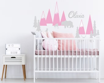 Nursery Baby Name Wall Decal Mountains Wall Stickers Pastel Woodland Headboard Baby Girl Room Washable Self Adhesive Decor
