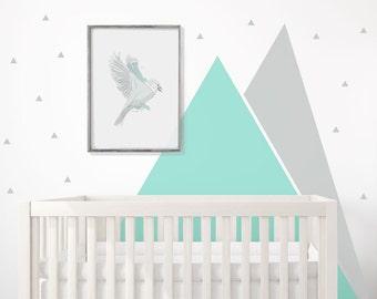 Mountains Wall Decal Nursery TRIANGLE Wall Art Graphic Triangular Headboard Baby Room Decal Nursery Self Adhesive Scandinavian Pattern Decor