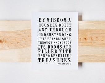 Proverbs 24:3-5, Farmhouse Print, Home Print, Bible Verse Art, Wall Art, Christian Print, INSTANT DOWNLOAD