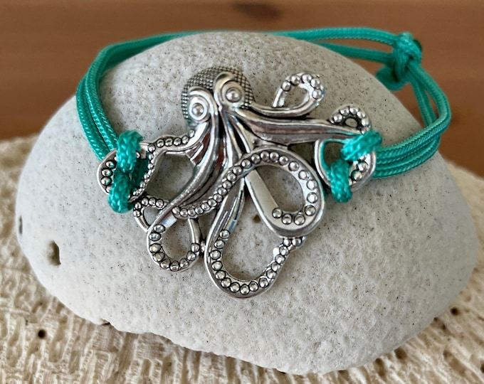 Octopus Charm Paracord Adjustable Bracelet/Ankelet
