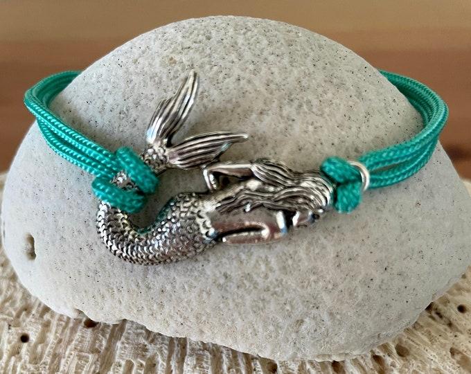 Mermaid Charm Adjustable Paracord Bracelet/Ankelet