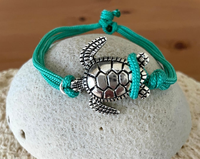 Sea Turtle Charm Paracord Adjustable Bracelet/Ankelet