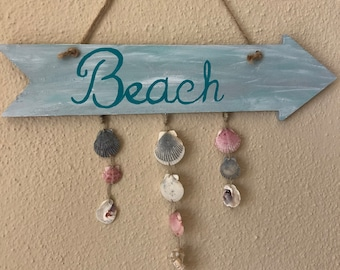 Wooden Beach Sign with Real Shells