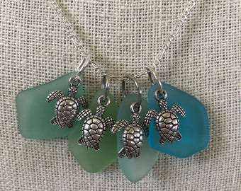 Sea Turtle Sea Glass Necklace - Choice of Color