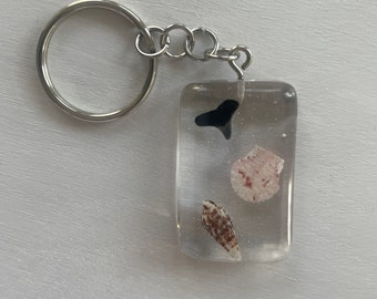 Resin Shark Tooth & Seashell Keychain
