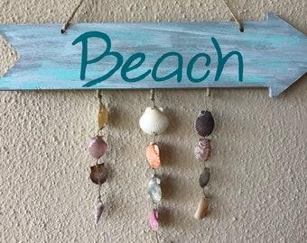 Beach Arrow & Real Shell Sign