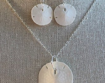 Real Sand Dollar Necklace& Earring Set