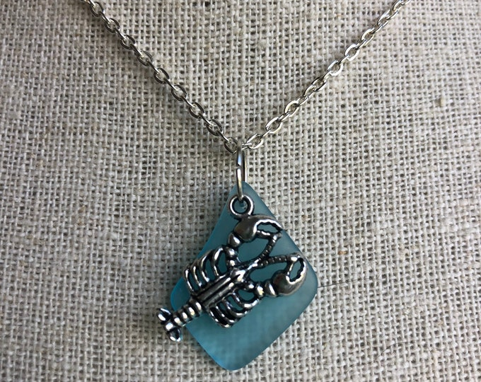 Lobster Sea Glass Necklace Choice of Color