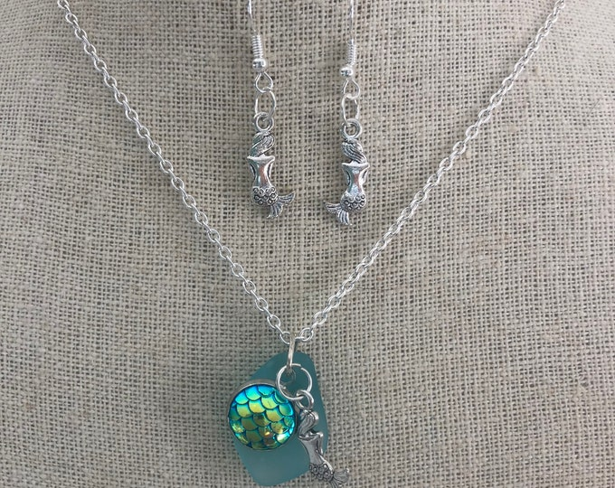 Mermaid At Sea Necklace & Earring Set
