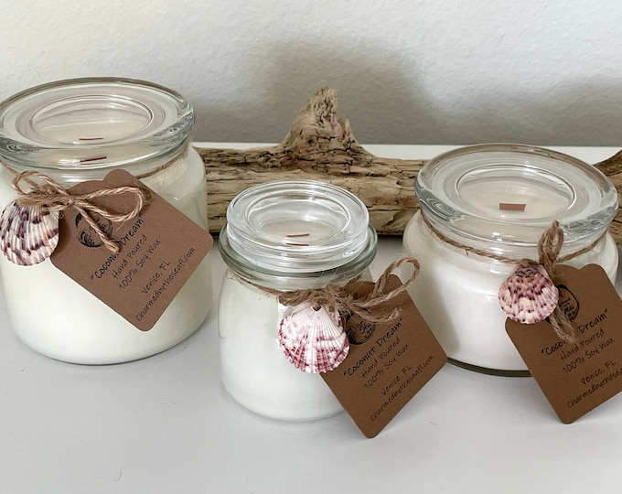 Coconut Dream Hand Poured Soy Candle with Wooden Wick
