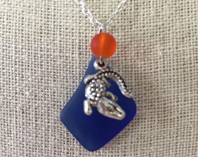 FL Gator Fan Sea Glass Necklace