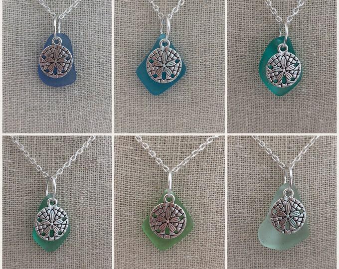 Sand Dollar Charm Sea Glass Necklace