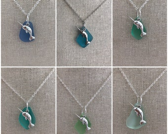 Narwhal Sea Glass Necklace. Earrings & Necklace Set Now Available!