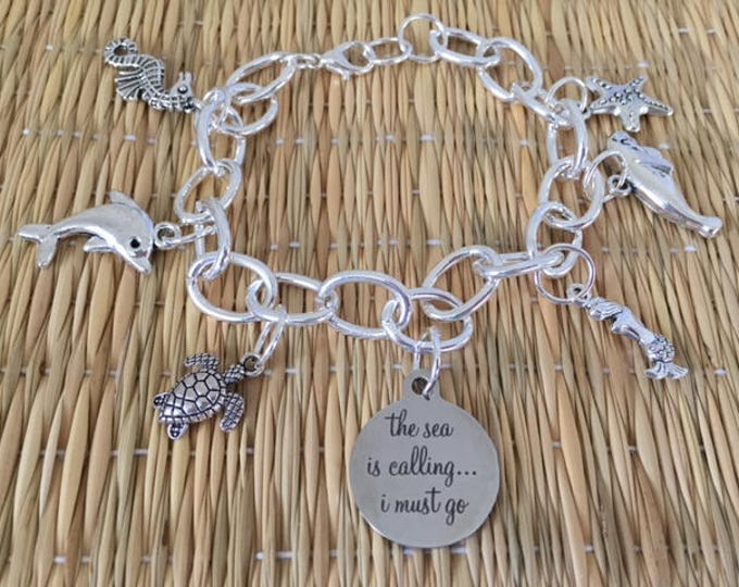 The Sea is Calling....I Must Go Charm Bracelet