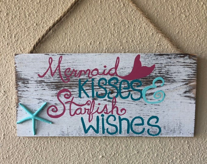 Hand painted Sign with Real Starfish