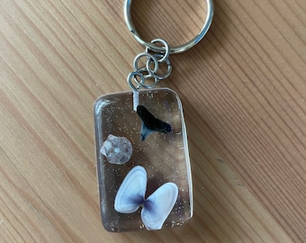 Resin Seashell & Shark Tooth Keychain