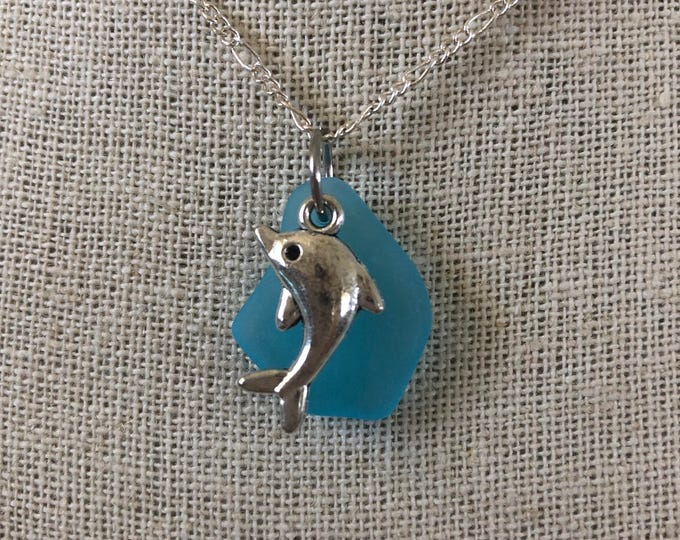 Dolphin Sea Glass Necklace - Choice of color