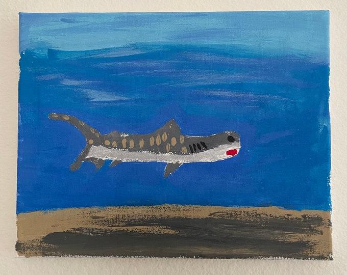 "8""x10"" Acrylic Painting - Tiger Shark"