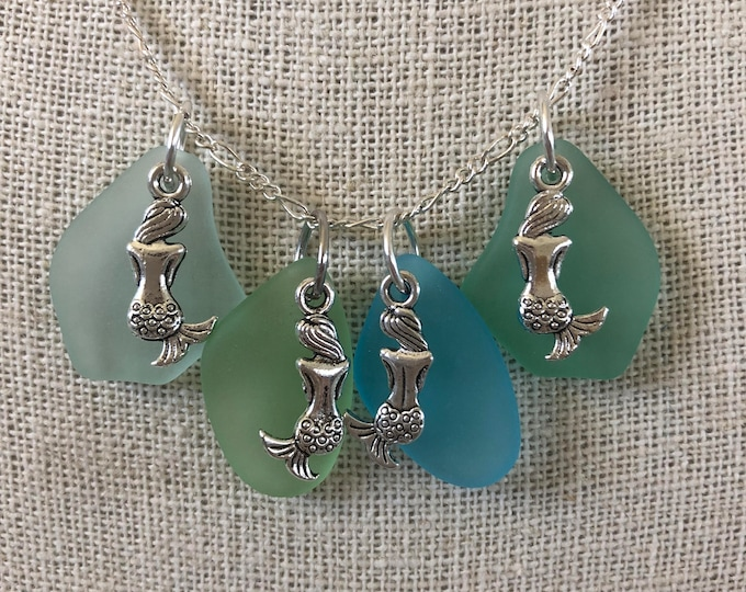 Mermaid Sea Glass Necklace - Choice of Color