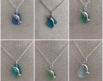 Narwhal Sea Glass Necklace Choice of Color