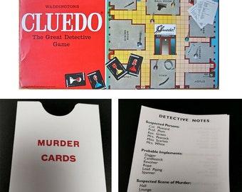 Cluedo Clue Spares 1949 1965 1972 Rules Detective Notes Murder Cards Envelope