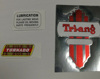 Set of Triang Tri-ang Scooter Tornado logo stickers decals for restoration