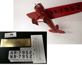Decals & Instructions Amelia Earhart NR-7952 Lockheed Vega Model 1:48 with gold detail