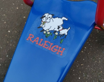 Raleigh Little Lamb 1980's seat stickers decal bikes trikes scooters tricycles