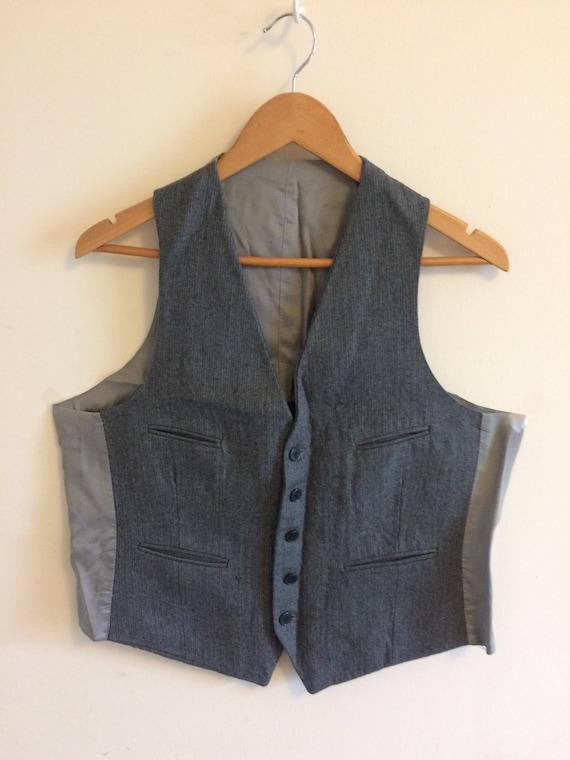 Vintage Gray Wool Waistcoat/ Pin stripe/ Size 40 … - image 1