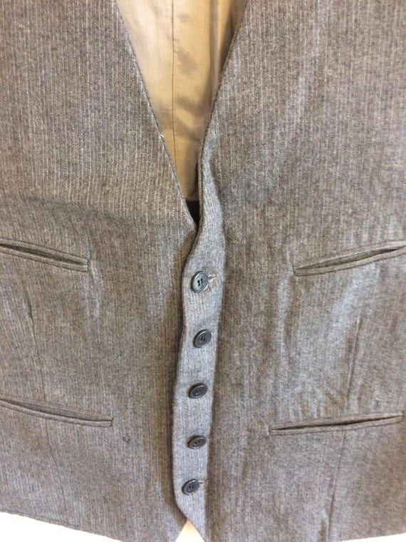 Vintage Gray Wool Waistcoat/ Pin stripe/ Size 40 … - image 2