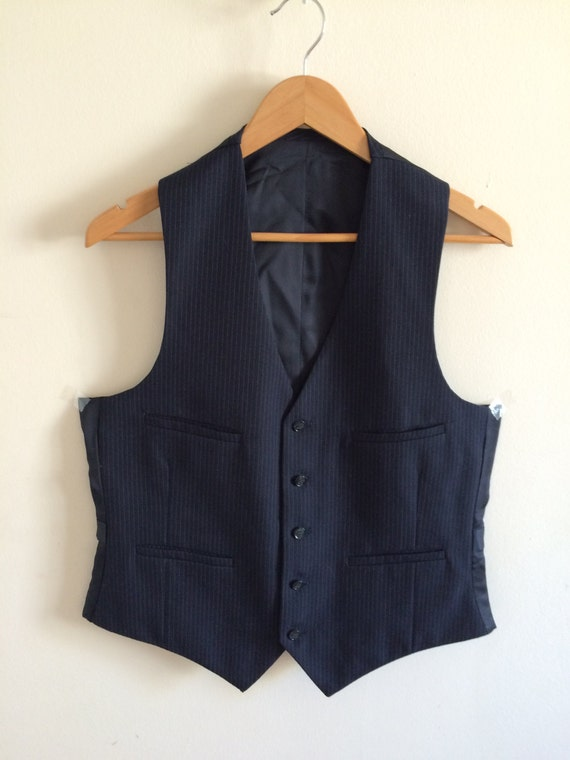 Vintage Navy Blue Waistcoat/Vest/Wool Waistcoat/Gr