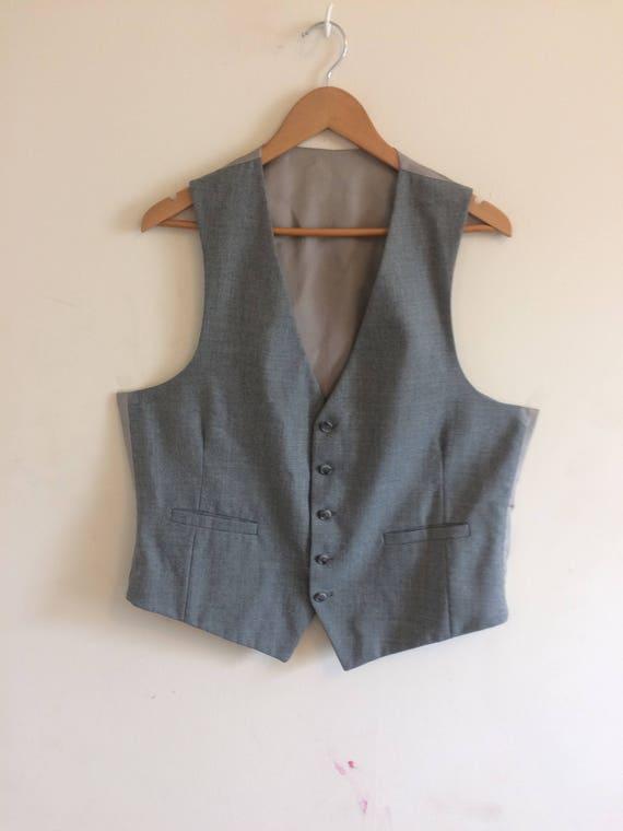 Vintage Gray Vest/Waistcoat/Groomsman/Size 42 Lar… - image 1