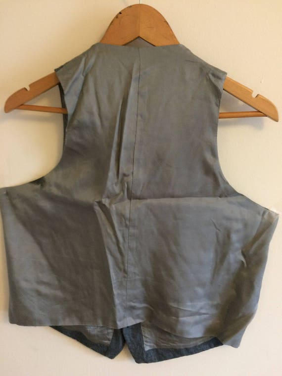 Vintage Gray Wool Waistcoat/ Pin stripe/ Size 40 … - image 5