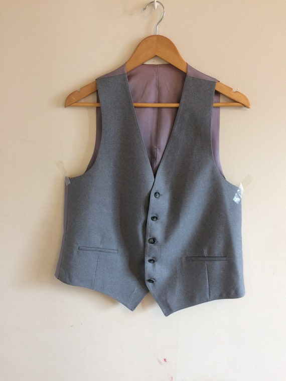 Vintage Gray Waistcoat/Vest/Groomsman/ Beige Satin