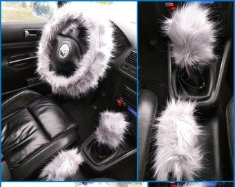 Gray Fuzzy Car Set, 3 pcs Fuzzy Set, Car accessories, Fuzzy Car Accessories Set,  Faux Fur Steering Wheel Cover