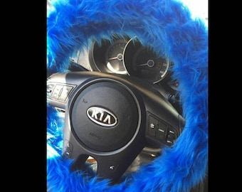 Blue Fuzzy Steering Wheel Cover, Car accesories, Fuzzy Car Accessories, Faux Fur Steering Wheel Cover