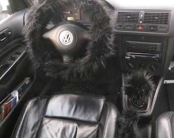 Steering Wheel Cover, Black Fuzzy Car Set, 3 pcs Fuzzy Set, Car accessories, Fuzzy Car Accessories Set,  Faux Fur Steering Wheel Cover
