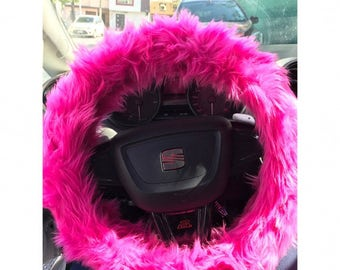 Hot Pink Fuzzy Steering Wheel Cover, Car accesories, Fuzzy Car Accessories,  Faux Fur Steering Wheel Cover