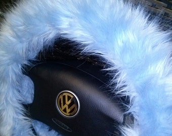 Fuzzy Steering Wheel Cover, Light Blue Fuzzy Steering Wheel Cover, Car accesories, Fuzzy Car Accessories, Faux Fur Steering Wheel Cover