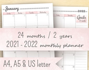 2021 Monthly Planner, Printable Planner 2021-2022, Month On Two Pages, A5 Calendar & A4, Letter (8.5 x 11) Planner Pages
